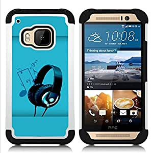 - headphones music art note party drawing/ H??brido 3in1 Deluxe Impreso duro Soft Alto Impacto caja de la armadura Defender - SHIMIN CAO - For HTC ONE M9