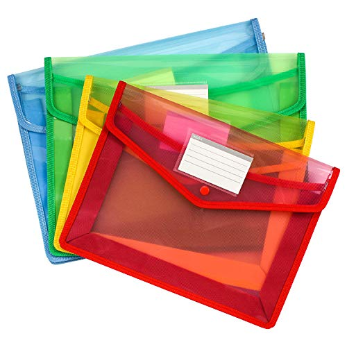 2 Pocket Document Wallet - Meetory 4 Pack Waterproof Plastic Document Wallets, Two Size- A4 B4 Plastic File Poly Envelope with Pocket Suitable A4 and Letter Size
