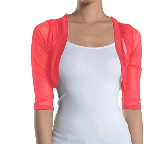 02982367ddc4f Fashion Secrets Women's Sheer Chiffon Bolero Shrug Jacket Cardigan 3/4  Sleeve (X Small