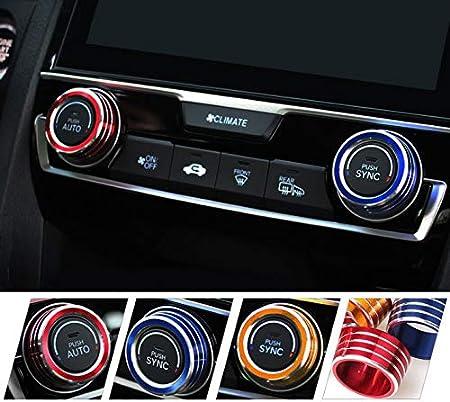 Air Condition Knob Cover Trims for 10th Gen Honda Civic X1 CAR FAN 3pcs Blue Civic Start Button X1,Anodized Aluminum AC Switch Temperature Climate Control Rings X1
