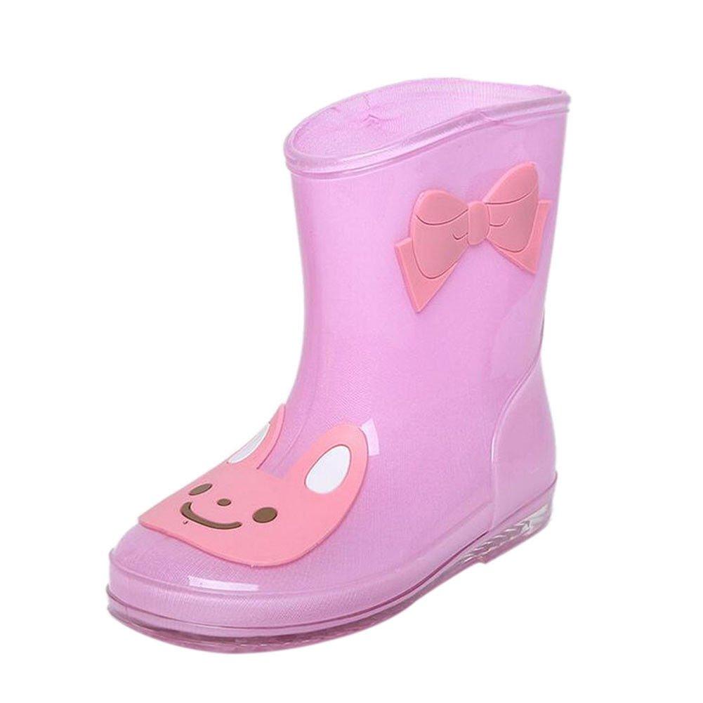 Hzjundasi Enfants Imperméable Mignon Bottes de Pluie Garçons Filles Souple Caoutchouc Pluie Chaussures Antidérapant d'eau Bottes Botte de neige Pluie Bottes