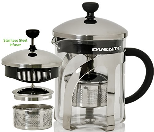 Ovente FGC20T Glass Tea Maker with Stainless Steel Retractable Infuser, 20 Ounce, ()