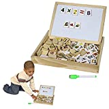 Toy Cubby Kids Toddler Wooden Alphabet and Number Blocks with Magnetic Whiteboard and Blackboard