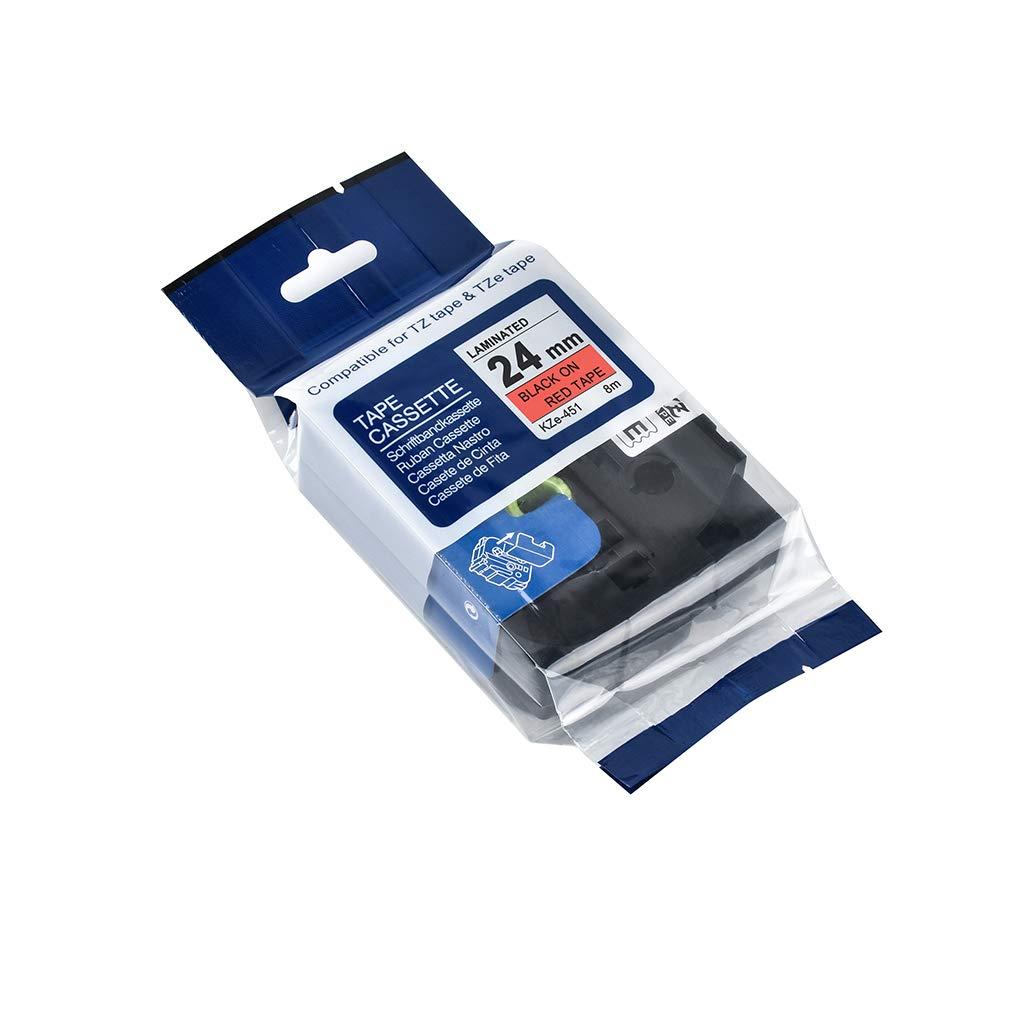 Deinbe Ersatz f/ür Brother P-Touch 24mm 8m Etikettendrucker Band laminiert Farbige Tag Maker Band