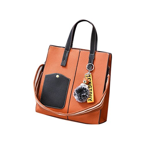 Sets ZhiYuanAN Yellow Simple Shoulder Bag Handbag Solid Fashion Decoration Wide Hairball Color Strap 2PCS Messenger Women Zipper Earthy O4qw0UrAT4