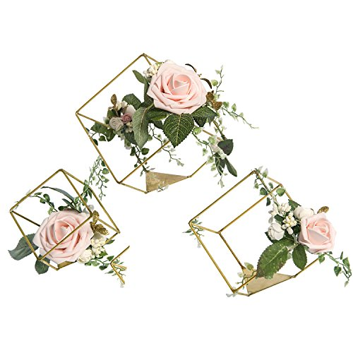 Blush Wedding Decor (Ling's moment Set of 3 Gold Geometric Wedding Centerpieces Ornaments Blush Rose Flower Table Centerpieces for Wedding Party)