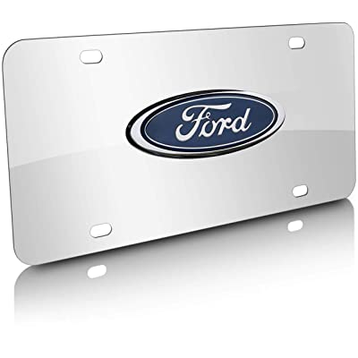 3D Logo Silver Mirror Stainless Steel Front License Plate Cover, Ford Nameplate Chrome Metal License Plate, with Screw Caps Cover Set Suit, for Ford: Automotive [5Bkhe1508994]