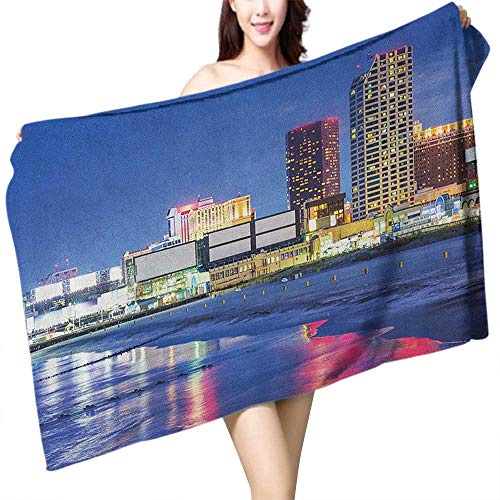 homecoco Beach Towel City Resort Casinos on Shore at Night Atlantic City New Jersey United States W12 xL35 Suitable for bathrooms, Beaches, -