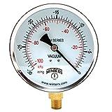 "Winters PEM Series Steel Dual Scale Economical All Purpose Pressure Gauge with Brass Internals, 30""Hg Vacuum/kpa, 4"" Dial Display, -3-2-3% Accuracy, 1/4"" NPT Bottom Mount"