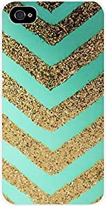 Turquoise and Gold Glitter Chevrons- Case for the Apple Iphone 6 plus 5.5 Universal- Hard White Plastic