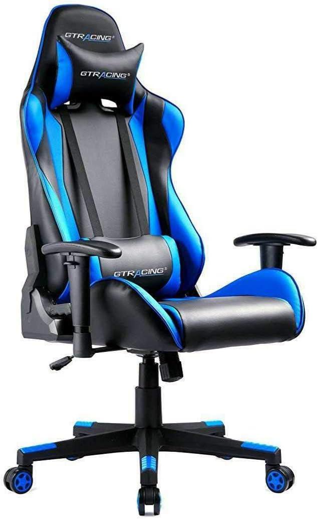 GTRACING オフィス、デスク、ゲーム用チェア パソコンチェア ハイバック 腰痛対策 ランバーサポート 高さ調整機能 PUレザー ブルー