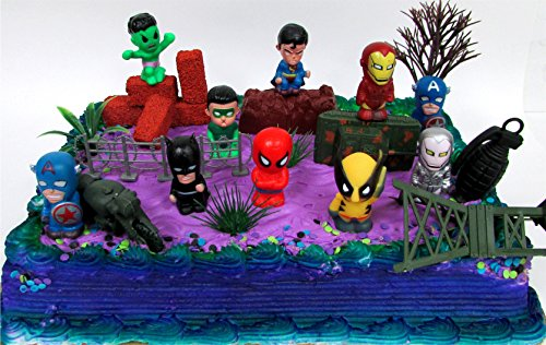 15 Piece SUPER HERO Birthday Cake Topper Set Featuring Comic Book Icon Characters and Decorative Themed Accessories]()