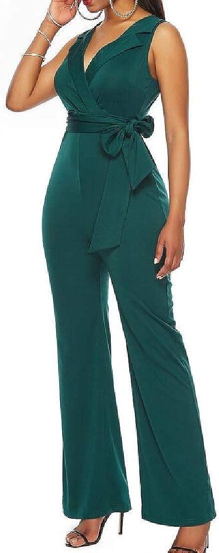 UUYUK Women Sleeveless Belted Straight Leg Solid Color Summer V-Neck Jumpsuit Romper
