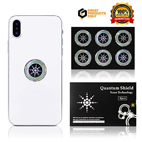 EMF Protection Cell Phone Shield Sticker Silver (6pc), Radiation Protection for - Cell Phone/Laptop/Computer/Tablet/WiFi/Router/iPad - EMF Radiation Protection for The Whole Family by Great Products Only