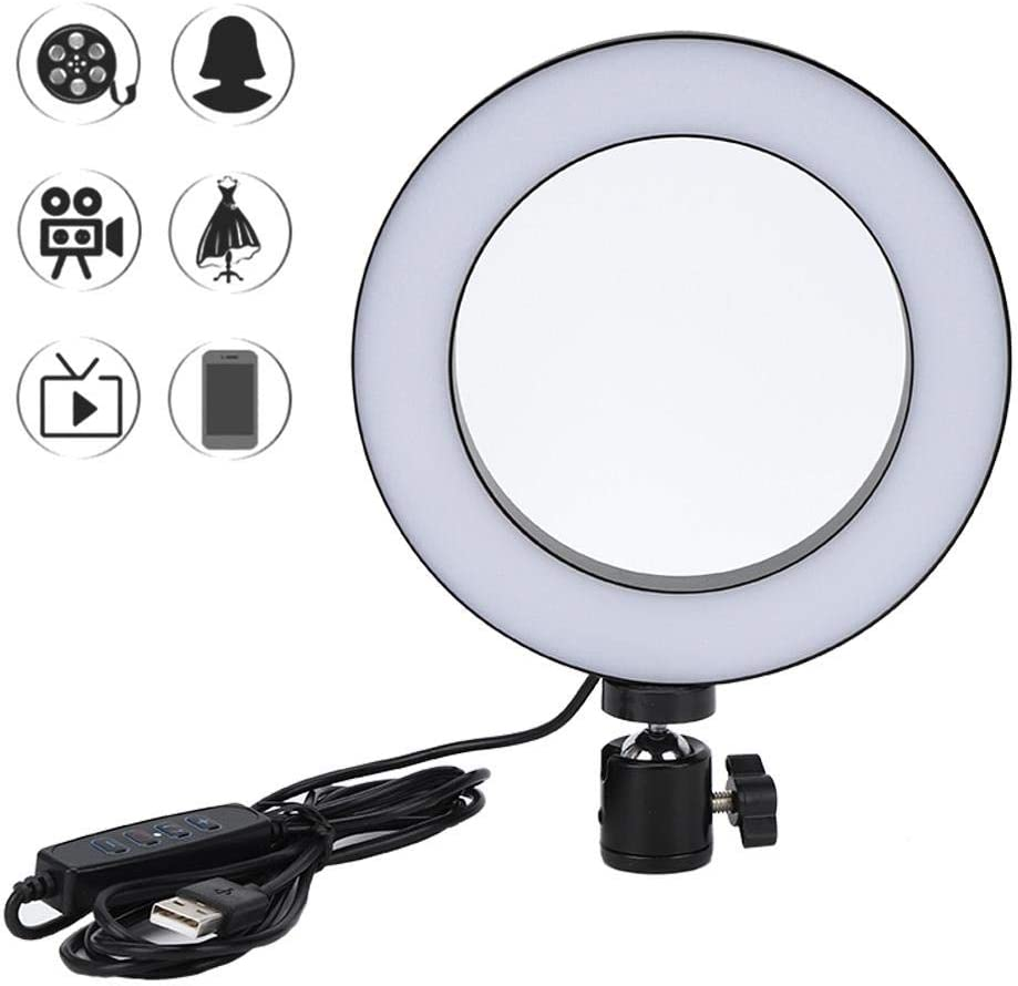 6 Selfie Ring Light with Tripod Mobile Phone Holder,3000-5500K Dimmable Led Camera Beauty Ringlight,LED Video Ring Light Lamp Kit for Photography Shooting.