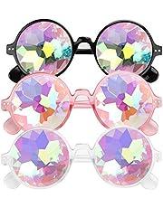 E-More Caleidoscoop-bril, 3-pack Festival Rave Rainbow-zonnebril, Crystal-lenzen, Multicolor Fractal Prism-bril Feestkostuum, 3 kleuren (wit + roze + zwart)