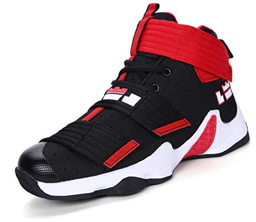 JiYe Men's Basketball Shoes for Women's Performance Sports Velcro Sneakers by, Black Red Low,Foot Length 27CM (Red Team Black Mens Sneaker)
