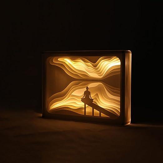 Neuheit Led Insight Meditation Usb Stereo 3d Lichter Lampe Kerbschnitzsatz Aus Papier Licht Nacht Amazon De Beleuchtung