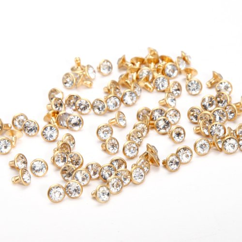 Diamante Leather - 100pcs 7mm Diamante Diamond Clear Gold Crystal RIVET STUDS Rock Leather Bag Shoe PUNK