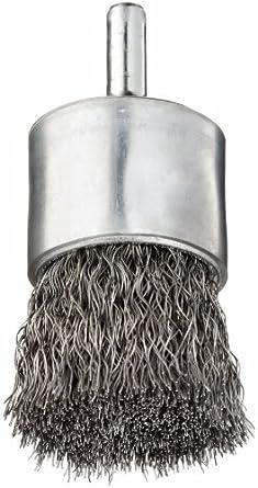 """Weiler Wire End Brush, Round Shank, Steel, Crimped Wire, 1"""" Diameter, 0.0104"""" Wire Diameter, 1/4"""" Shank, 22000 rpm (Pack of 1)"""