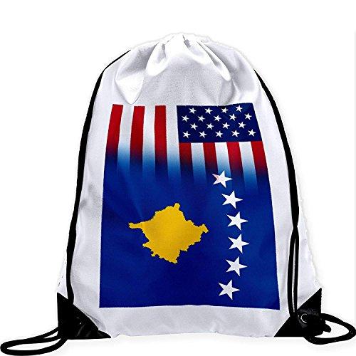 Large Drawstring Bag with Flag of Koxovo - Many Designs - Long lasting vibrant image by crystars