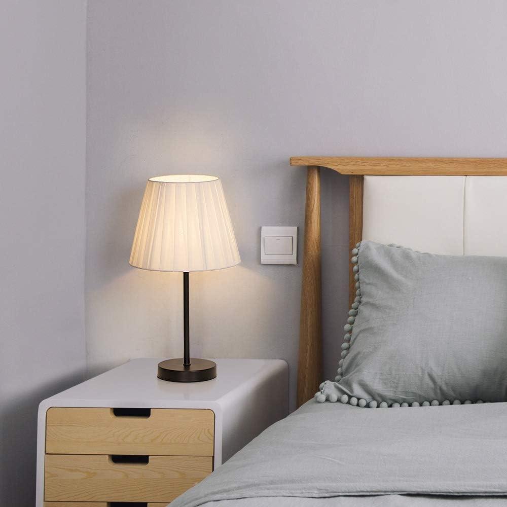 Kinderzimmer mit Mini Metall-Basis und Wei/ßem Stoffschirm B/üro 2er Set Kleine Nachttischlampen Tischlampen f/ür Schlafzimmer