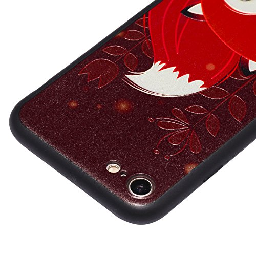 iPhone 7 Hülle 3D Roter fuchs oh Premium Handy Tasche Schutz Schale Für Apple iPhone 7 + Zwei Geschenk