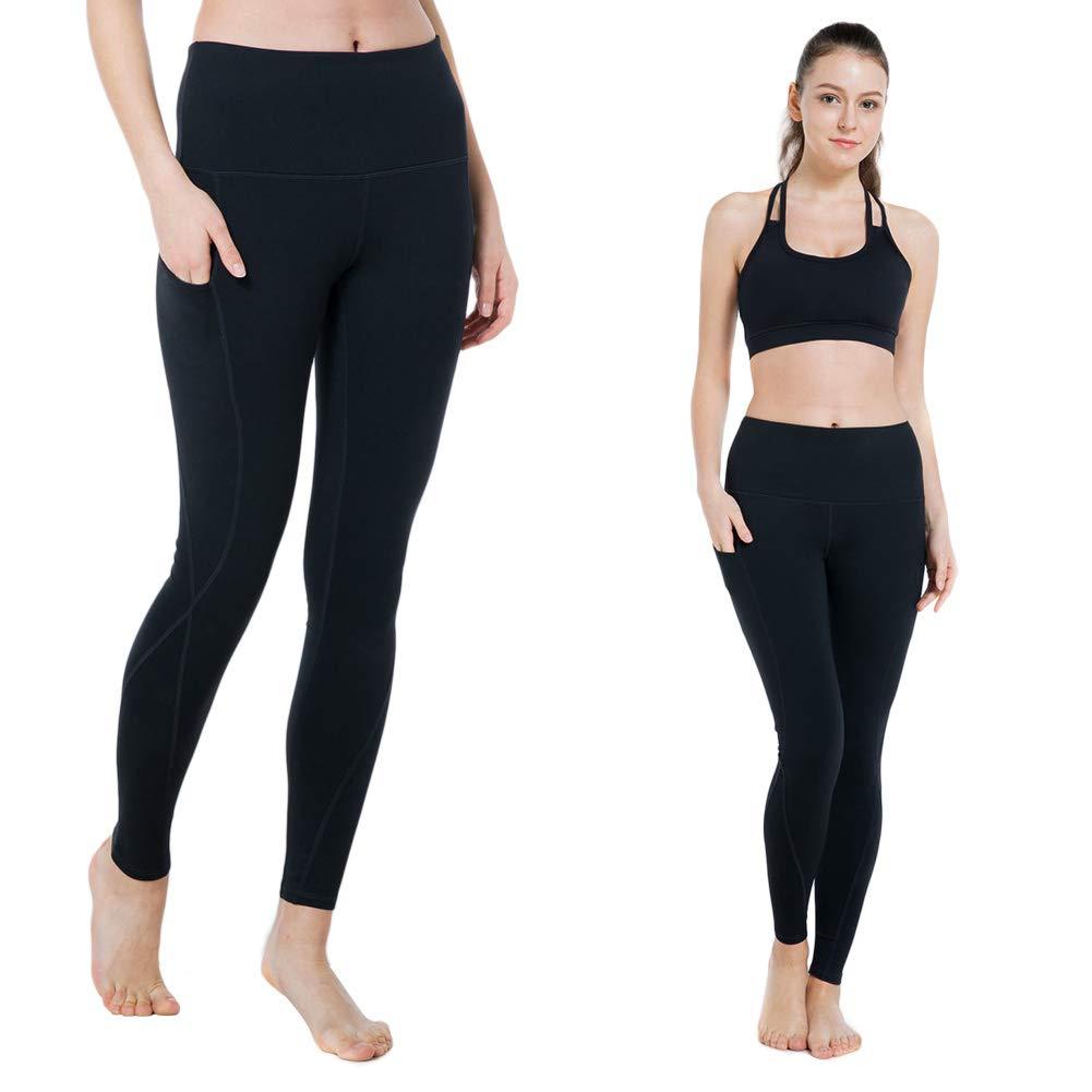 X009_black Modoker High Waist Yoga Pants, Tummy Control Workout Leggings for Women 4 Way Stretch Yoga Leggings with Pockets
