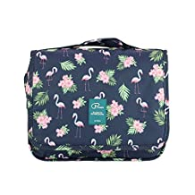 Hanging Toiletry Bag Large Capacity Bathroom Storage Travel Wash Bag Organizer Makeup Pouch Cosmetic Bag with Flamingo Pattern for Women/Man/Travel/Bathroom/Hotel/Organizer (Flamingo-01)