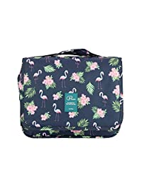 Hanging Toiletry Bag Large Capacity Bathroom Storage Travel Wash Bag Organizer Makeup Pouch Cosmetic Bag with Flamingo Pattern for Women/Man/Travel/Bathroom/Hotel/Organizer (flamingo-navy blue)