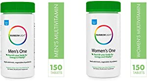 Rainbow Light Once Daily Multi-Vitamin Bundle Pack - Men's One and Women's One, 150 Count (Pack of 2)