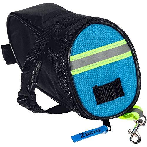 g, MTB Mountain Road Bike Seat Bag, Bicycle Repair Tools Storage Bag with Safety Reflective Strip, Lobster Key Clasp and Interior Mesh Pocket - Black (Saddlebag Interior Light)