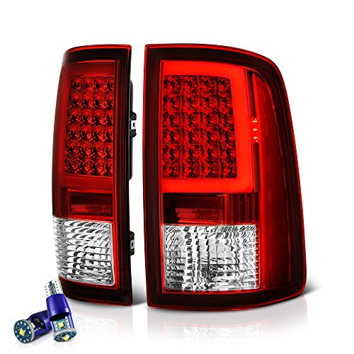 VIPMOTOZ OLED Neon Tube Tail Light Lamp For 2009-2018 Dodge RAM 1500 2500 3500 - [Factory Incandescent Model] - CREE LED Reverse Bulbs, Rosso Red Lens, Driver & Passenger Side Dodge Neon Tail Lamp