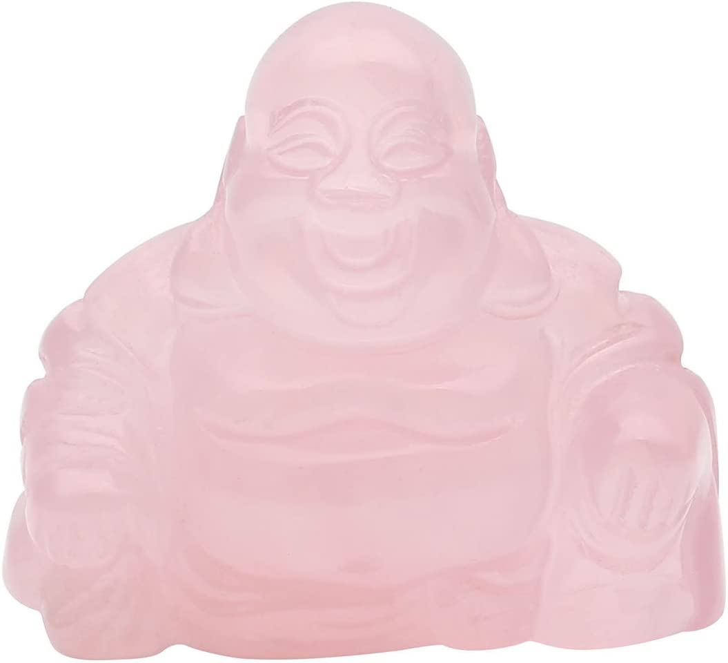 PESOENTH 1.2inch Natural Rose Quartz Laughing Buddha Statue Healing Crystals Gemstone Carved Mini Happy Buddha Figurine Feng Shui Ornament Meditation Therapy Wealth and Good Luck Desk Home Decor