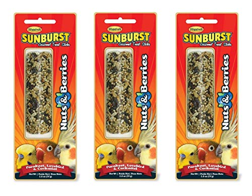 Higgins 3 Pack of Sunburst Gourmet Treat Sticks, 2.8 Ounces Each, Nuts & Berries Flavor for Parakeets, Lovebirds & Cockatiels