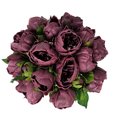 Meide Group USA 14 Real Touch Latex Mini Peony Bunch Artificial Spring Flowers for Home Decor, Wedding Bouquets, and centerpieces (6 PCS) (Wine)