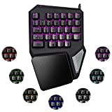 ElementDigital Gaming Keyboard Single-Handed Keypad One-handed T9 Pro Gameboard POM Switch with 29 Keys RGB Backlit LED Control Soft Palm Rest Anti-Fatigue Wristpad for PC Games LOL