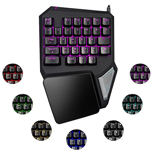 Elementdigital Gaming Keyboard Single Handed Keypad One Handed T9 Pro Gameboard Pom Switch With 29 Keys Rgb Backlit Led Control Soft Palm Rest Anti Fatigue Wristpad For Pc Games Lol