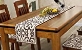 JYQ Chinese Rustic Handmade Cotton Floral Table Runners with Lace, for Rectangle Tables (11.5'' x 70'', flower coffee)