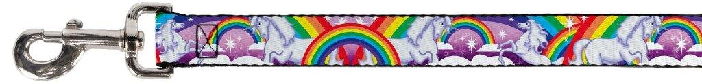 "Buckle Down 0.5"" Narrow Unicorns in Rainbows with Sparkles/Purple Dog Leash, 4' 3"