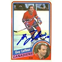 $30 » Autograph Warehouse 63443 Guy Lafleur Autographed Hockey Card Montreal Canadiens 1984 Topps No. 81