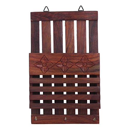 Crafts'man Wooden Wall Hanging Letter Organiser/rack and Letter and Paper Holder with Key Hooks