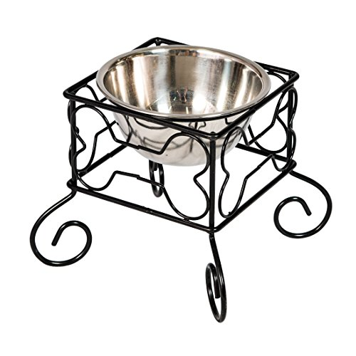 (Good Life Raised Dog Bowl for Small to Medium Dog Stand Raised Pet Food Bowls Elevated Feeder Iron Stand with Single Stainless Steel Bowl)