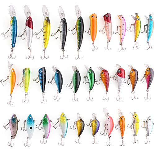 LotFancy 30 PCS Fishing Lures Crankbaits with Treble Hook Topwater Baits, Bass Minnow Popper Walleye Baits, Length from 1.57 to 3.66 Inches (Assorted) ()