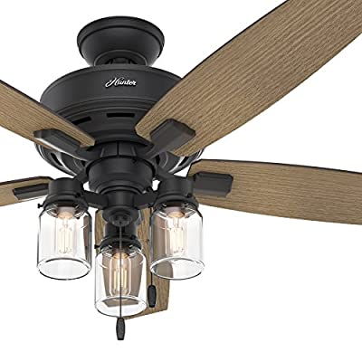 Hunter Fan 52 in. Rustic Ceiling Fan with Clear Glass LED Light Kit, Natural Iron Finish (Certified Refurbished)
