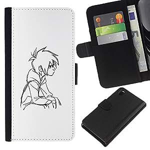 A-type (Boy pensativo Art Dibujo Retrato Sentado) Colorida Impresión Funda Cuero Monedero Caja Bolsa Cubierta Caja Piel Card Slots Para Sony Xperia Z3 D6603