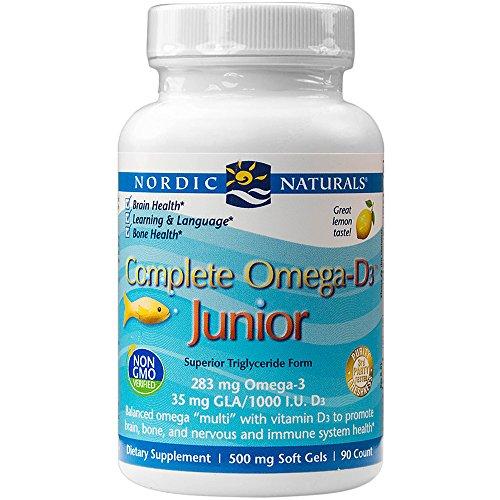 Nordic Naturals - Complete Omega-D3 Junior, Promotes Brain, Bone, and Nervous and Immune System health, Junior 90 Soft Gels