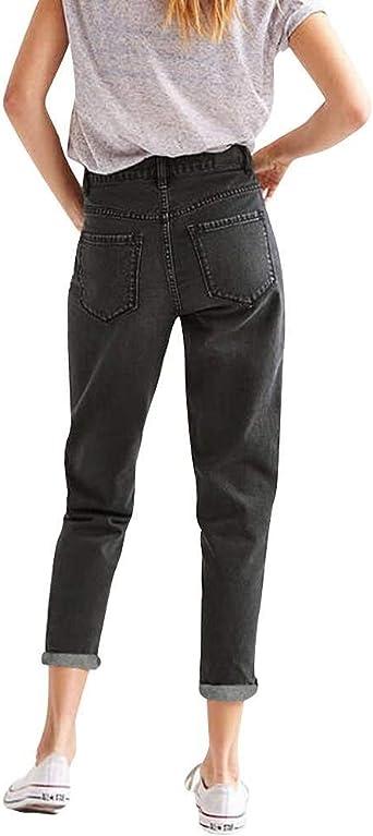 Hosen Damska Jeans Lang Elegant Wesentlich Hohe Taille Freizeithosen Mit Gürtel Mädchen Denim Einfarbig Slim Fit Für Outdoor (Color : Schwarz 2, Einheitsgröße : 25): Odzież