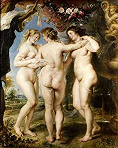 Cotton Canvas ,the Imitations Art DecorativePrints on Canvas of oil painting 'Peter Paul Rubens-The Three Graces,1635', 8x10 inch / 20x25 cm is best for Bedroom gallery art and Home decor and Gifts