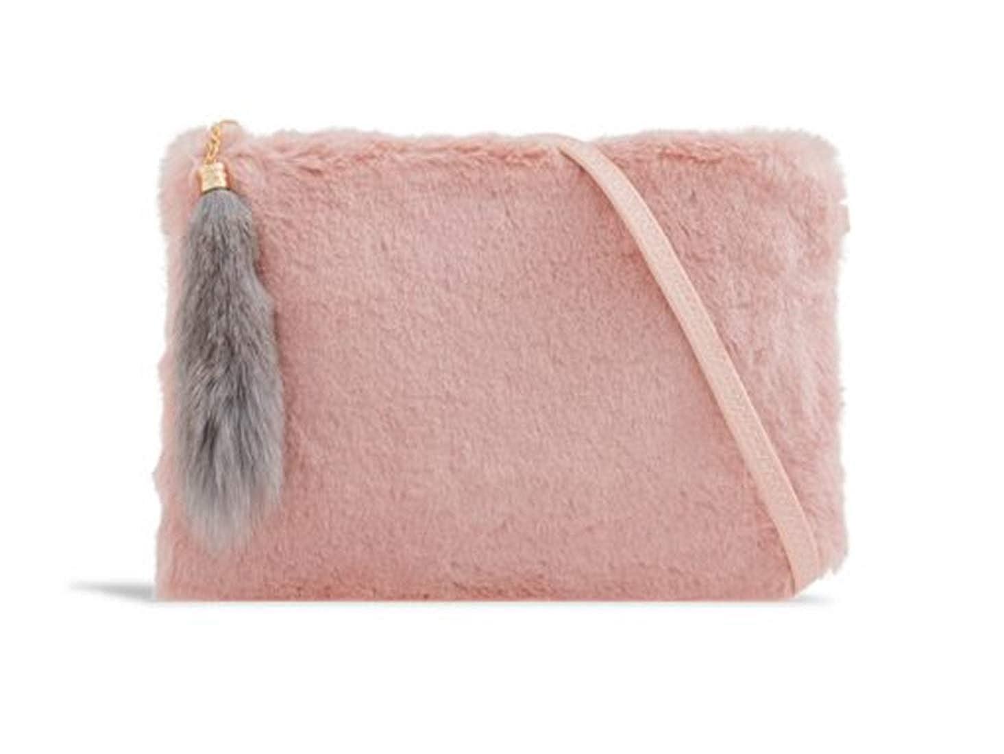 794754fb997 LeahWard Women s Faux Fur Clutch Bag Cross Body Handbag Wedding Night Out  Purse 2333 (Black)  Amazon.co.uk  Shoes   Bags